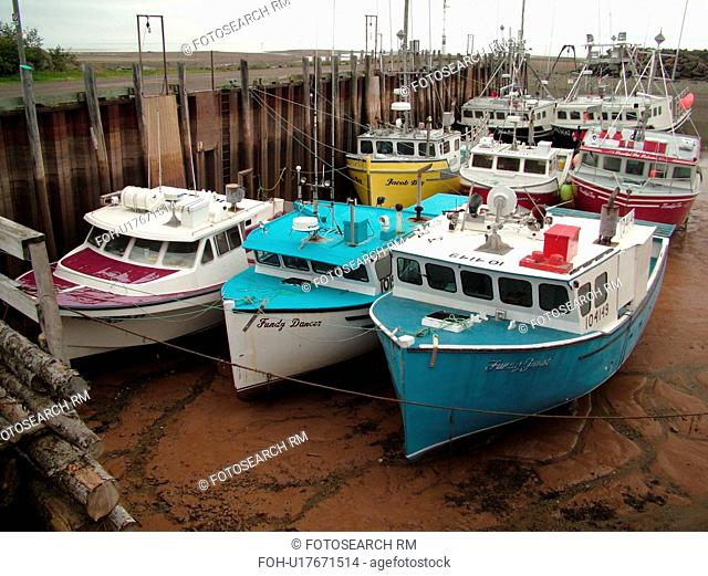 Canada, New Brunswick, Alma, Bay of Fundy, Highest tide in the world (48 feet), fishing boats
