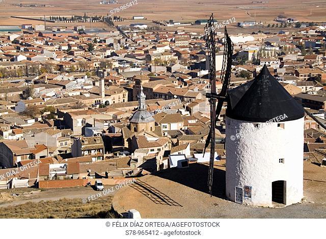 16th century windmill on the top of Cerro Calderico and overview of Consuegra, Toledo province, Castilla-La Mancha, Spain