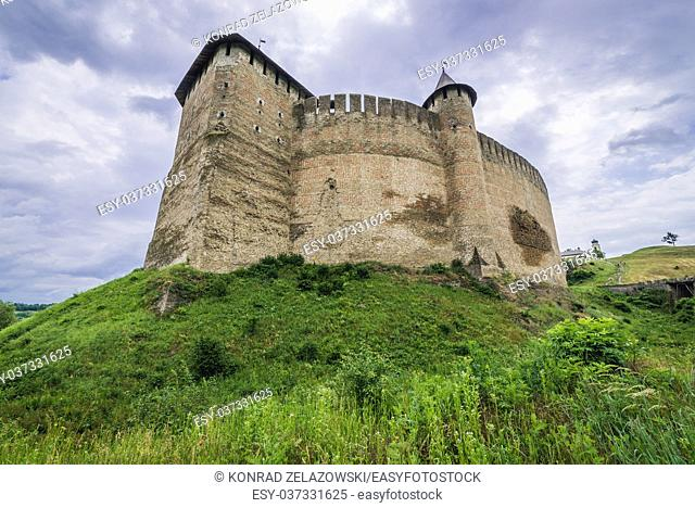 Fortress in Khotyn city, located in Chernivtsi Oblast of western Ukraine. View from the bridge