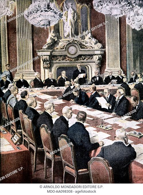 French President Georges Clemenceau speaking at Paris peace conference (George Clemenceau alla conferenza di pace), by Achille Beltrame, 1919, 20th Century
