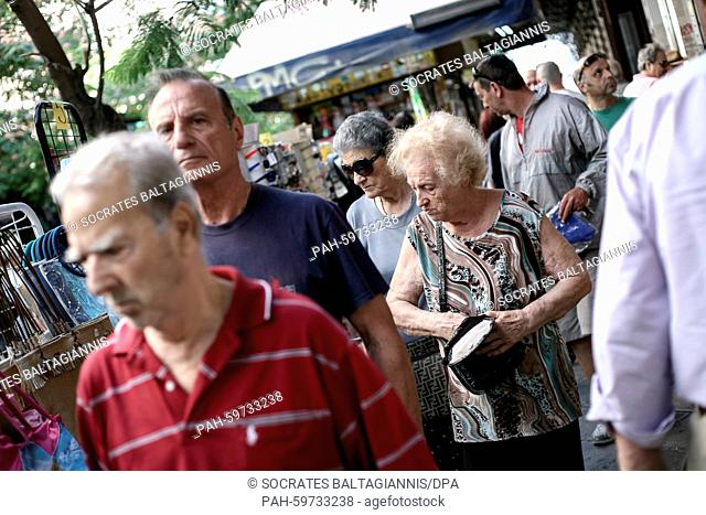 People at a shopping street near Omonia square in Athens, Greece on the 2nd of July 2015. Greece's government has made new concessions in talks with its...