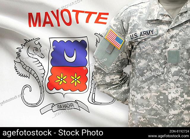 American soldier with flag on background - Mayotte