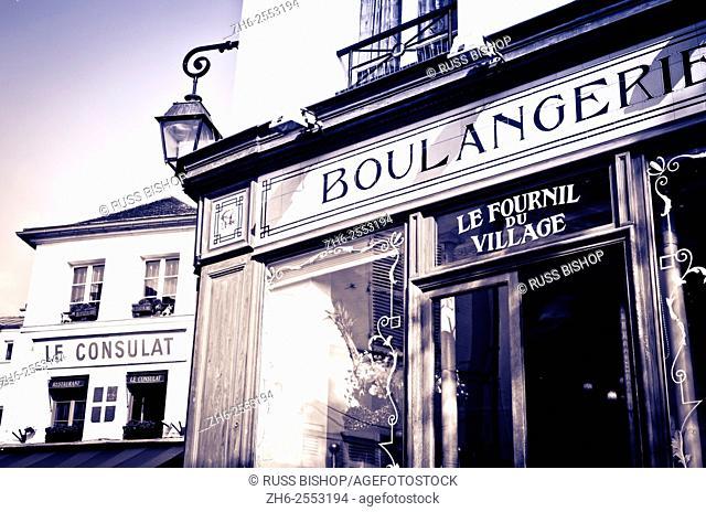 Boulangerie (bakery) and Le Consulat Restaurant, Montmartre, Paris, France