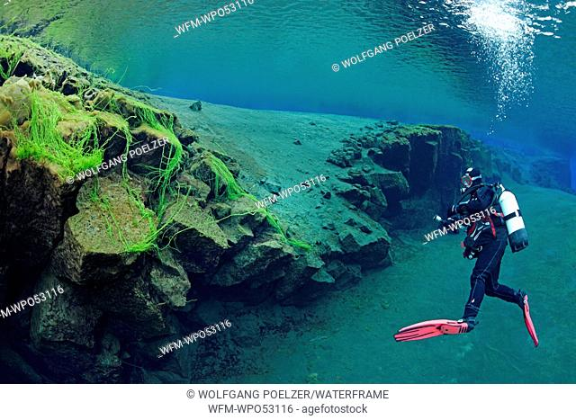 Scuba diving in Silfra Crack, Thingvellir National Park, Iceland