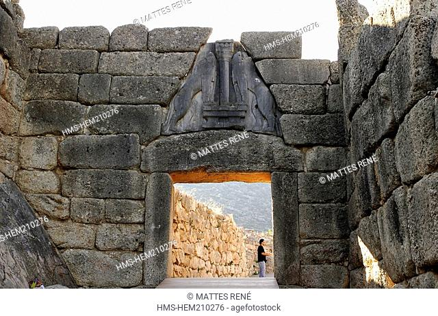 Greece, Peloponnese, Mycenae, site listed as World Heritage by UNESCO, Acropolis, Lions Gate