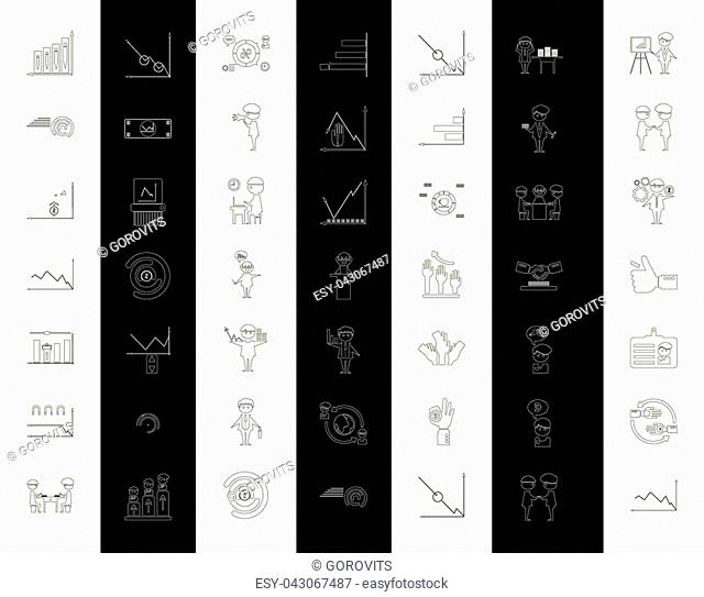 Outline web icon set - money, finance, payments with humans silhouette in black white