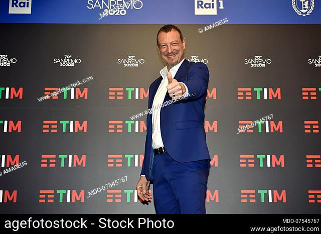 Anchorman Amadeus at the Press Conference of the 70 Sanremo Music Festival. Sanremo (Italy), February 4th, 2020