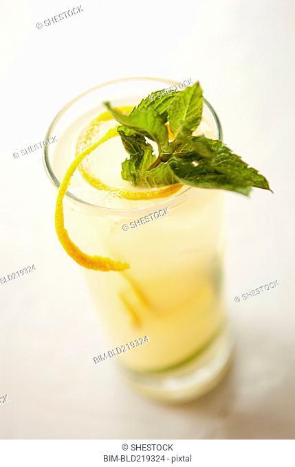 Close up of glass of lemonade with garnish