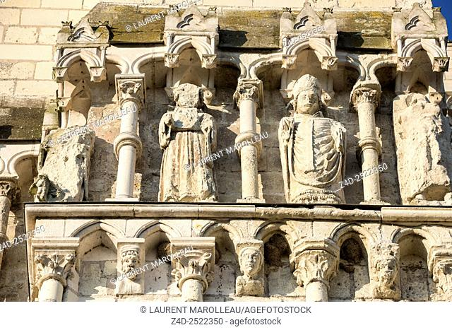 Detail of Sculpture of the Facade of Collegiate Church of Saint-Martin, Village Labeled The Most Beautiful Villages of France