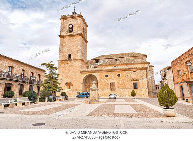 Juan Carlos I Square and San Antonio Abad Church, El Toboso, Toledo province, Castile la Mancha, Spain. Route of Don Quijote