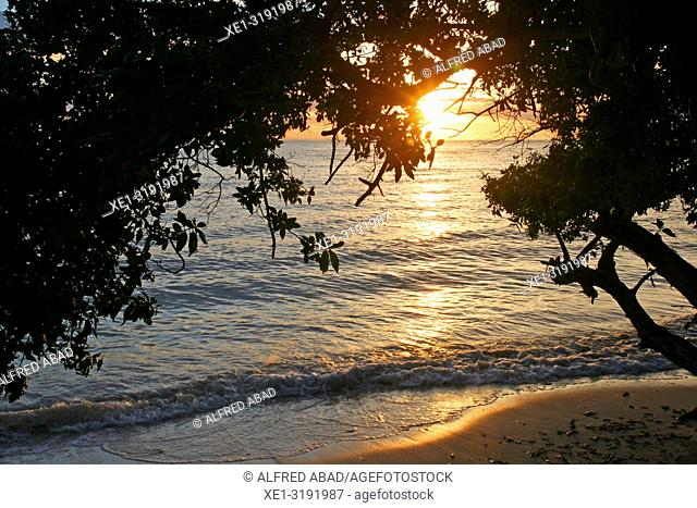 sunset on the beach, Barú Peninsula, Caribbean Sea, Colombia