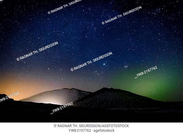Aurora Borealis or Northern Lights, Kolgrafarfjordur, Snaefellsnes Peninsula, Iceland