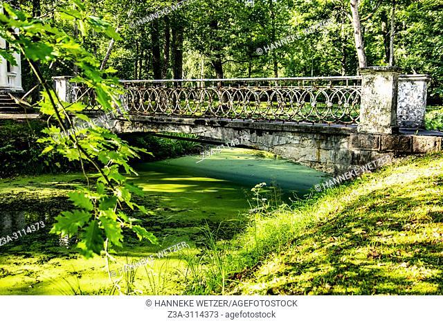 Old bridge of a damaged coffee pavilion at Kemeri National Park, Latvia, Baltic States, Europe