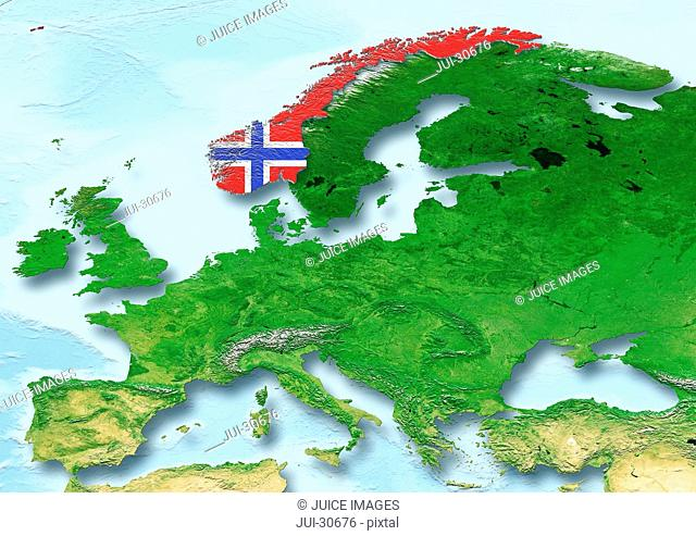 Norway, flag, map, Western Europe, physical