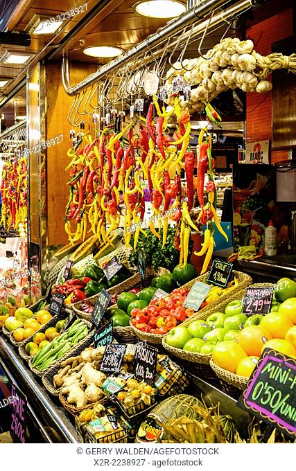 Vegetables for sale in La Boqueria market, Barcelona, Spain