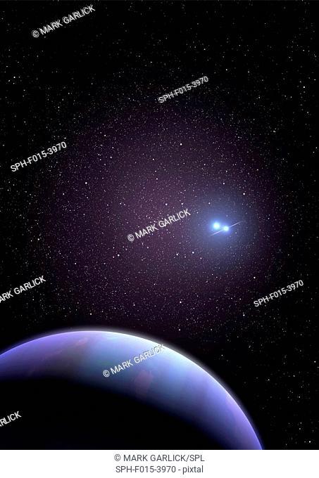 Artwork of PSR B1620-26b, also known as Methuselah or the Genesis Planet. Some 12, 400 light-years away in Scorpius lies the exoplanet dubbed Methuselah