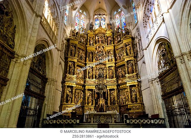Inside the Major chapel. Cathedral of Saint Mary of Burgos. Burgos, Castile and Leon, Spain, Europe