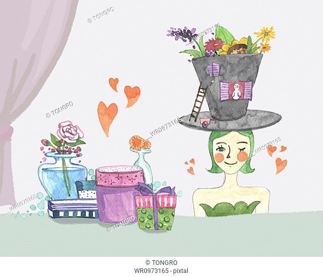 flower pot on woman's head