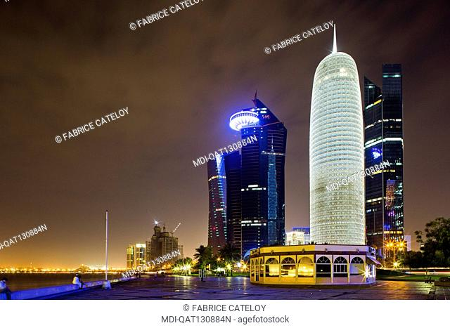 Qatar - Doha - West Bay - Towers at night from the Corniche