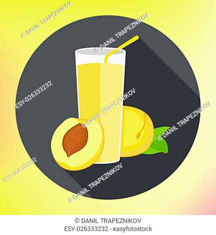 Glass of apricot juice flat vector icon with long shadows. Abstract vector illustration for a logo glass cup with fresh juice