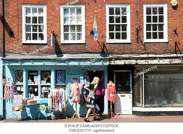 Shopping at a country store in Upton-upon-Severn, Worcestershire, England