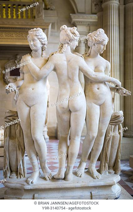 """""""""""""""""""""""Les Trois Grâces,"""""""" The Three Graces on display in the Sully section of Musee du Louvre, Paris, France"""