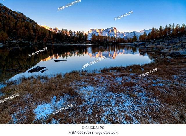 Gran Jorasses reflects in autumn in Arpy lake, Aosta valley,italy, europe
