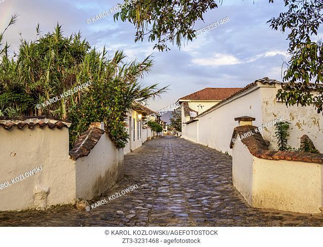 Street of Villa de Leyva, Boyaca Department, Colombia