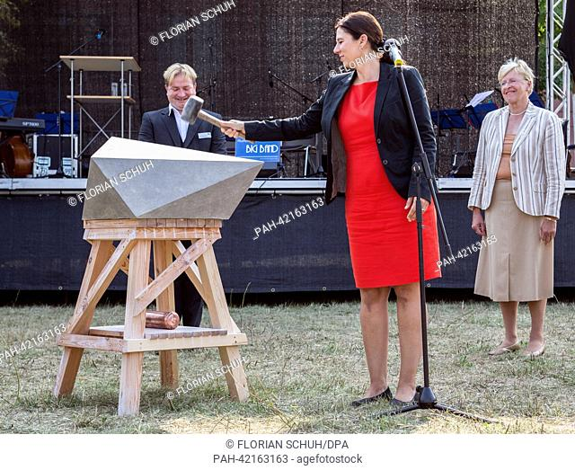 Berlin Senator for Education, Youth and Science, Sandra Scheeres, speaks during the ceremonial laying of the foundation stone of the student village Adlershof...