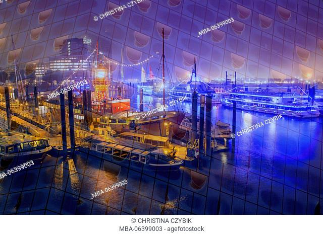 Hamburg, abstract, double exposure, Elbphilharmonie and harbour