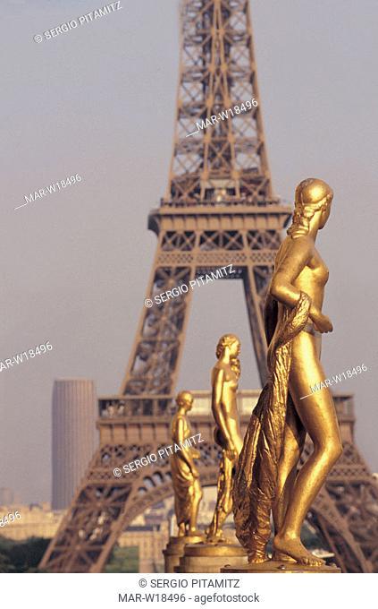 france, paris, palais de chaillot, tour eiffel, statues