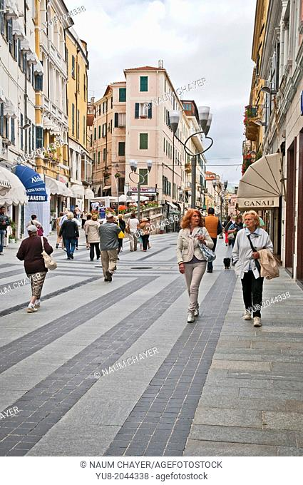 Lively pedestrian street, San Remo, Italy