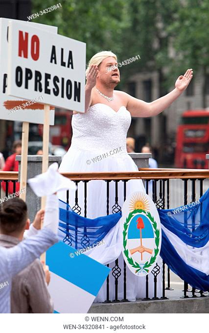 James Corden films on the streets of London with Sir Andrew Lloyd Webber for the late show. In these scenes Corden can be seen dressed as Evita and a character...