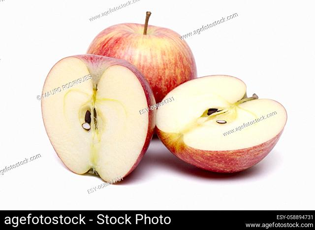 Close up view of some red apples isolated on a white background