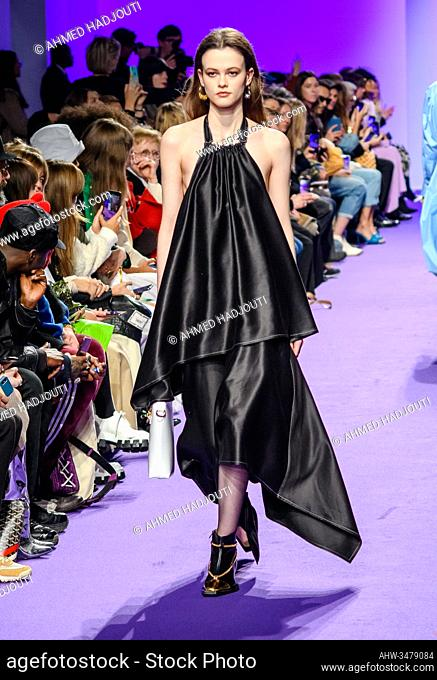 PARIS, FRANCE - FEBRUARY 25: A model walks the runway during the Victoria/Tomas Womenswear Fall/Winter 2020 show as part of Paris Fashion Week on February 25