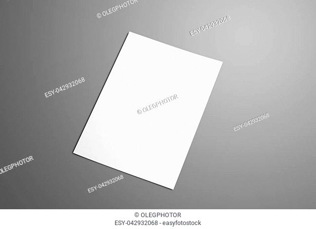 Universal blank A4, (A5) bi-fold brochure with soft realistic shadows isolated on gray. The brochure is shows the front cover