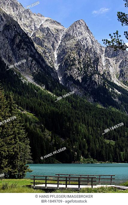 Lake Antholzer See or Lago di Anterselva in the Rieserfernergruppe mountains, Antholz valley, South Tyrol, Italy, Europe