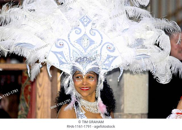 Dancer in exotic headdress at Dancebase in Edinburgh, Scotland