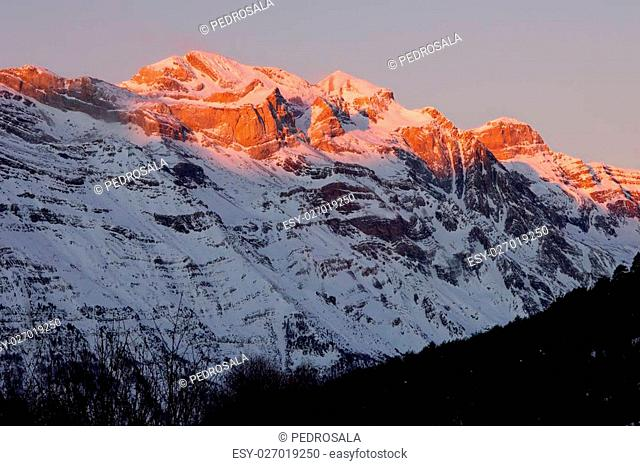 Winter in Ordesa National Park, elevated peaks, left to rigth, are Sum de Ramond (3254 m.), Monte Perdido (3355 m.) and Cilindro de Marbore (3325 m