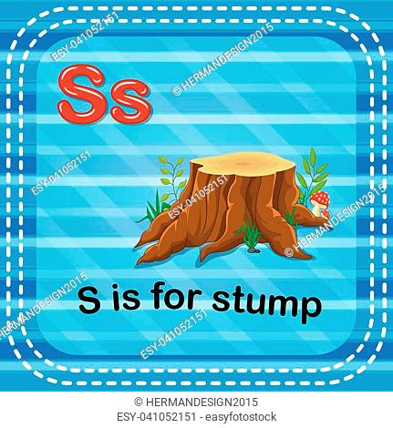 illustration of Flashcard letter S is for stump