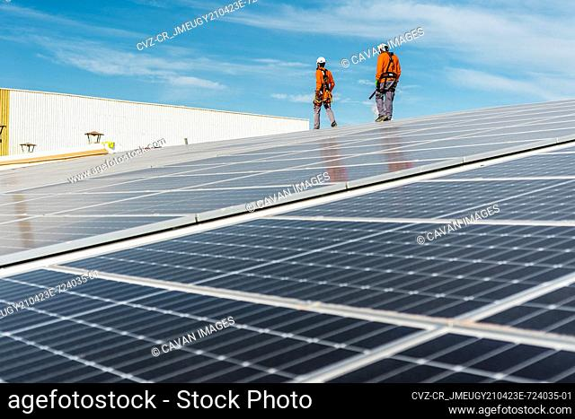 Installation with multiple solar panels with technicians walking backw