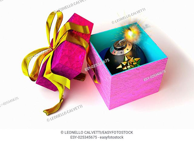 Opened gift box with bomb inside, on white surface