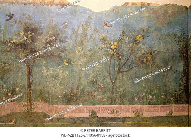 Painted Garden of the Villa of Livia, 20-30 BC, with birds and apple trees, Palazzo Massimo alle Terme, National Museum of Rome, Italy
