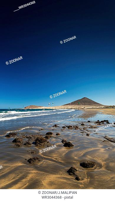 la tejita beach and montana roja in south tenerife spain