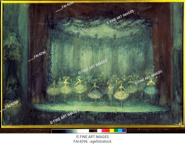 A ballet. Sapunov, Nikolai Nikolayevich (1880-1912). Tempera, silver, bronze and black chalk on cardboard. Art Nouveau. 1906