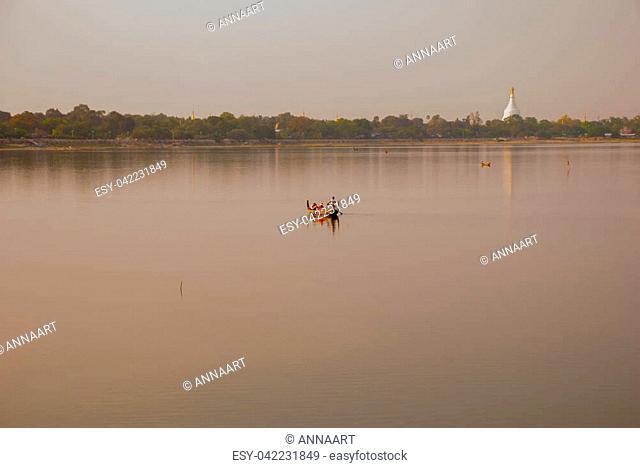 Landmark landscape U bein bridge, Taungthaman lake, Amarapura, mandalay city of Myanmar. Burma. Myanmar