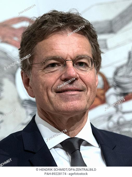 Alexander Skipis, managing director of the German Publishers' and Booksellers' Association, attends the opening press conference of the book fair in Leipzig
