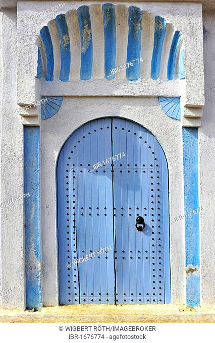 Typical painted blue front door of a house, Medina, old town, Chefchaouen, Rif Mountains, Northern Morocco, Morocco, Africa