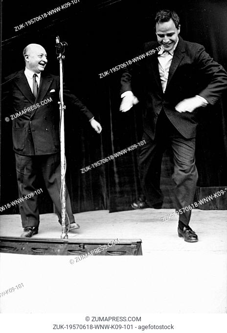 June 18, 1957 - Paris, France - Actor MARLON BRANDO (1924-2004) and ROGER FERAL. PICTURED: Brando and Feral dancing on a stage