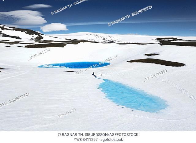 Blue pools of melting water, Kisubotnar, near Hofsjokull Ice Cap, Iceland